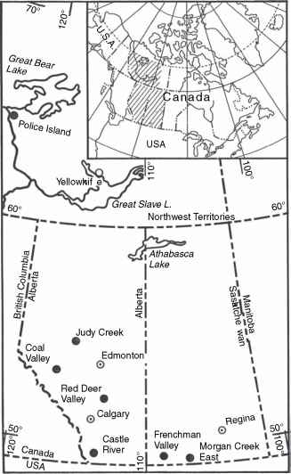 figure 7 31 map of western canada showing approximate positions of k t boundary localities from sweet et al 1990 from north to south localities are